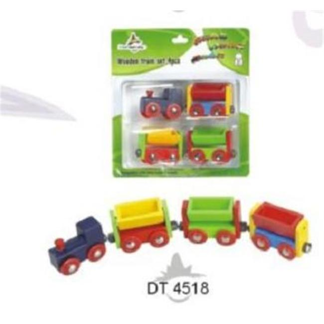 CHH 964518 4 Pieces Wooden Trains in Blister Pkg