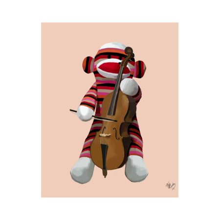 Sock Monkey and Cello Print Wall Art By Fab Funky
