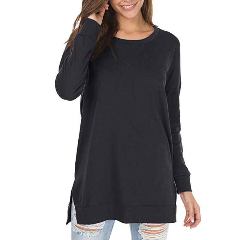 Nekosi Womens Casual Long Sleeve Loose Fall Pullover Side Split Tunic Tops with Pockets