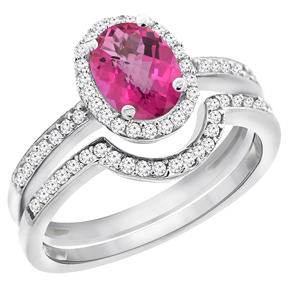 14K White Gold Diamond Natural Pink Topaz 2-Pc. Engagement Ring Set Oval 8x6 mm, size 6.5 by Gabriella Gold