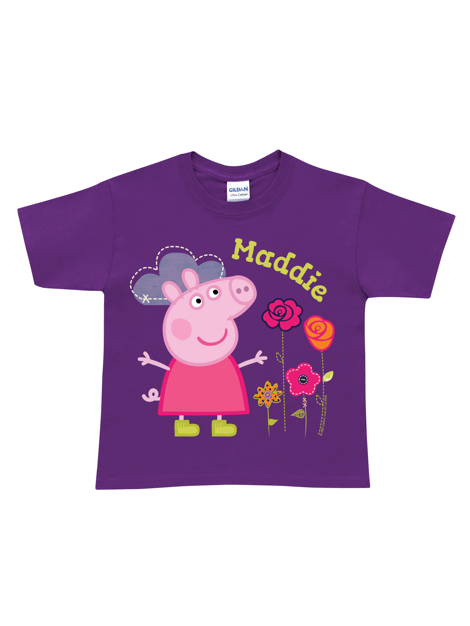 Personalized Peppa Pig Pretty Toddler Girk Purple T-Shirt