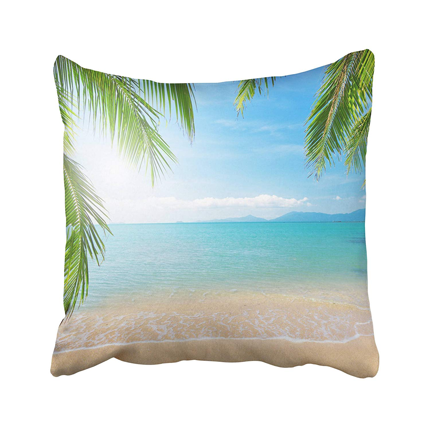 BPBOP Tree Palm And Tropical Beach Summer Sea Sand Sunset Ocean Beauty Thailand Pillowcase Pillow Cushion Cover 16x16 inches