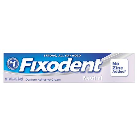 Fixodent Neutral Denture Adhesive Cream With No Added Zinc, 2.4
