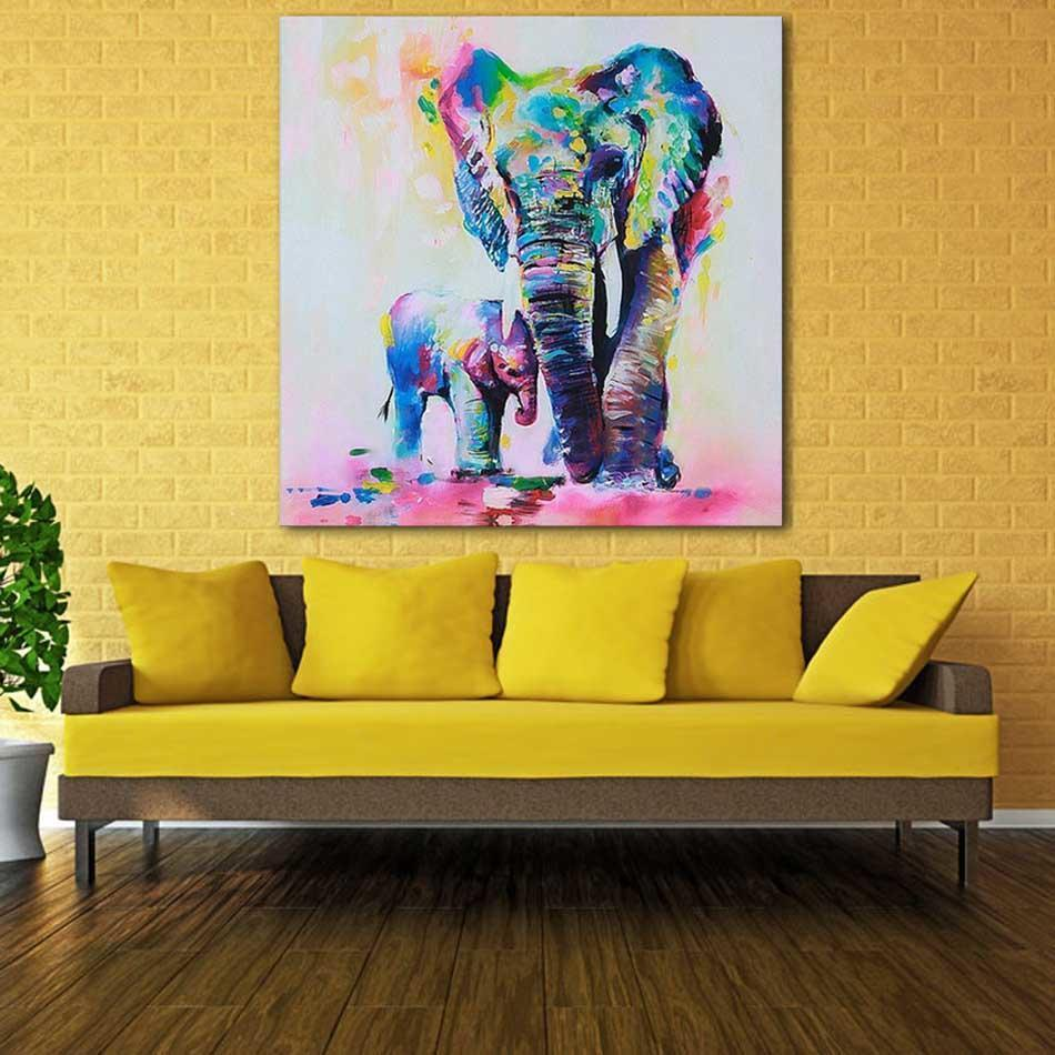 Useful Wall Art Painting Picture Multicolored Elephant Canvas Print Hanging Picture HD Unframed Decor HITC