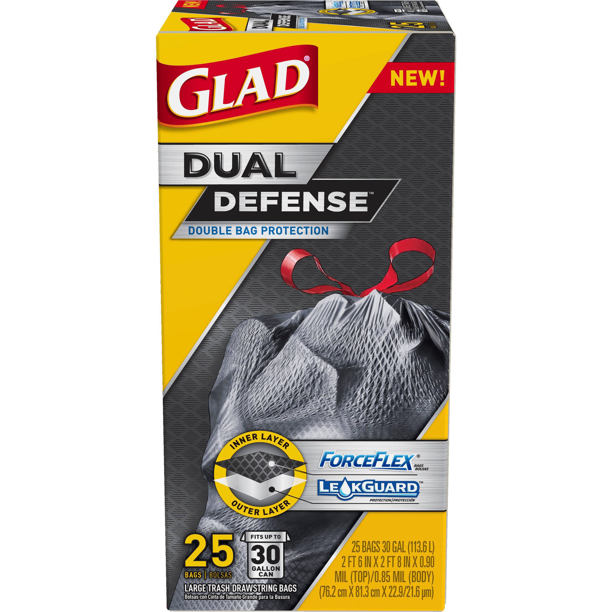 Glad Dual Defense Drawstring Large Trash Bags, 30 Gallon, 25 Count