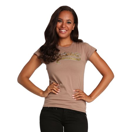 Sweet Vibes Junior Young Women Light Brown Stretch Jersey Crew Neck T-Shirt Cap Sleeve