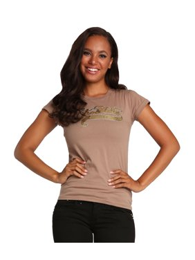 ca623e1846aafc Product Image Sweet Vibes Junior Young Women Light Brown Stretch Jersey  Crew Neck T-Shirt Cap Sleeve