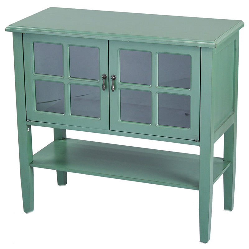 2-Door Console Cabinet w/ Paned Glass Inserts and Shelf - MDF, Wood Clear Glass