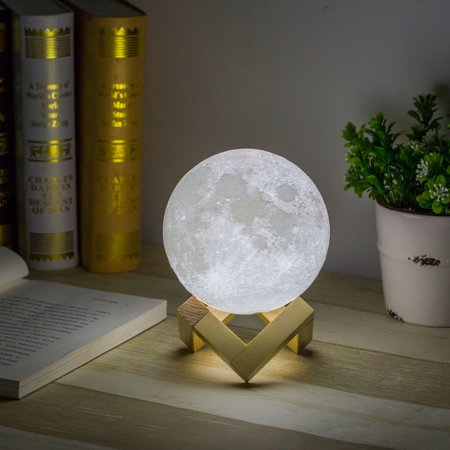 Led Half Moon Deck Light (USB 3D Printing Moon Lunar LED Night Light Lamp with Wooden Stand Rechargeable 12 cm Diameter,)