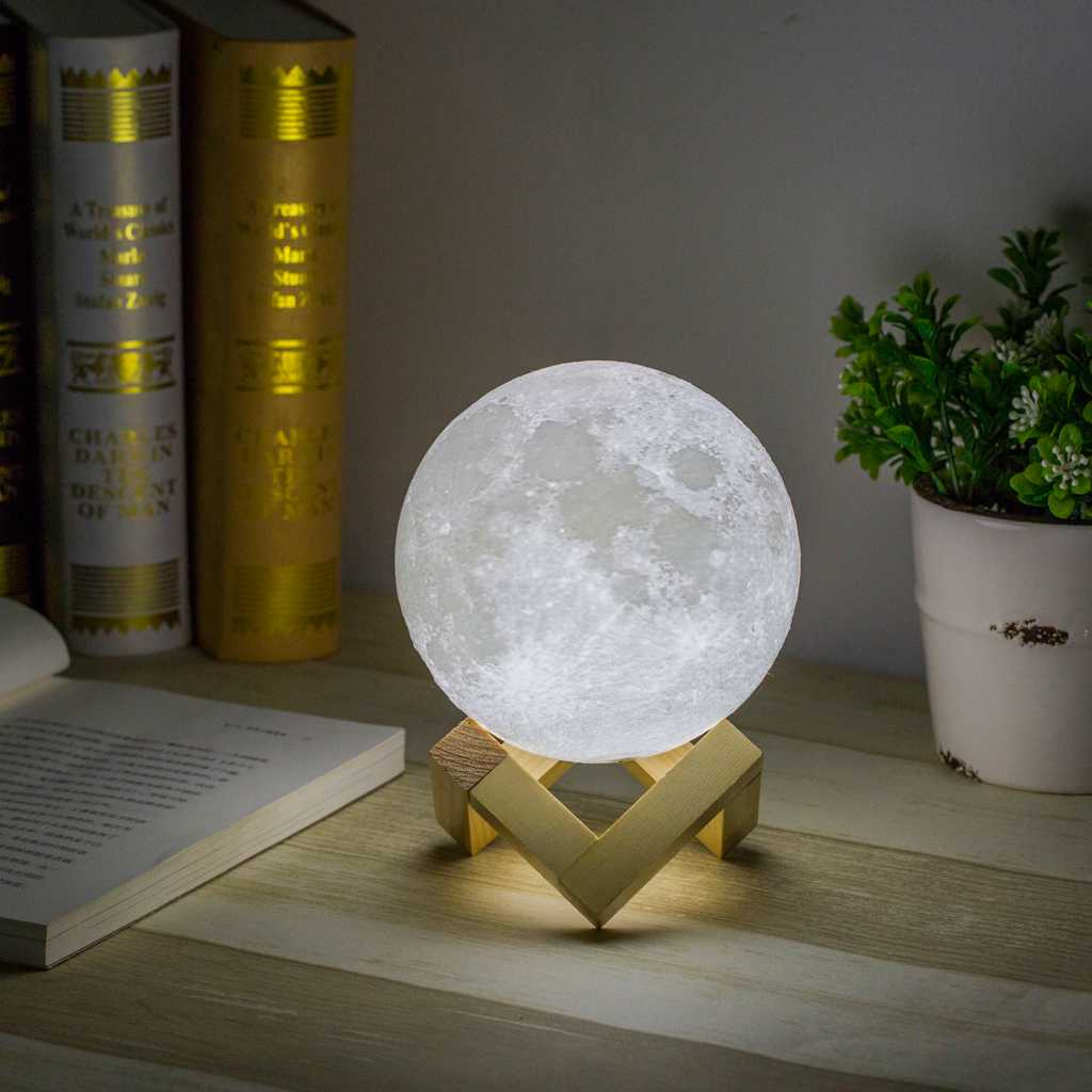 USB 3D Printing Moon Lunar LED Night Light Lamp with Wooden Stand Rechargeable 12 cm Diameter, White