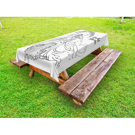 Bridal Shower Outdoor Tablecloth, Sketchy Black and White Hand Drawn Bride with Floral Swirls Swing Image, Decorative Washable Fabric Picnic Table Cloth, 58 X 84 Inches,Black and White, by - Outdoor Bridal Shower