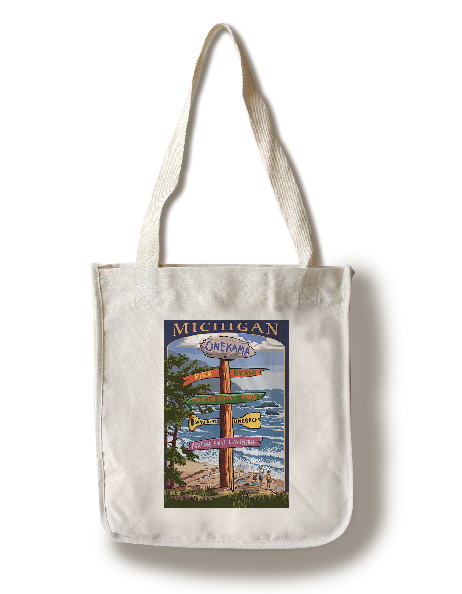 Onekama, Michigan Sign Post Lantern Press Poster (100% Cotton Tote Bag Reusable) by Lantern Press