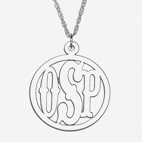 Personalized Sterling Silver 3-Initial Circle Monogram Pendant, 20""