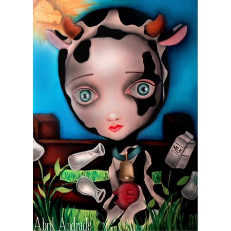 Cow Eye - Cow Girl by Artist Abril Andrade Griffith Big Eye Dairy Framed Fine Art Print
