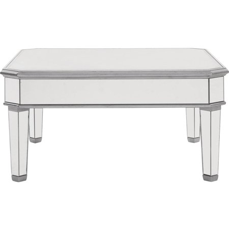Elegant Lighting Mirrored Square Coffee Table Silver