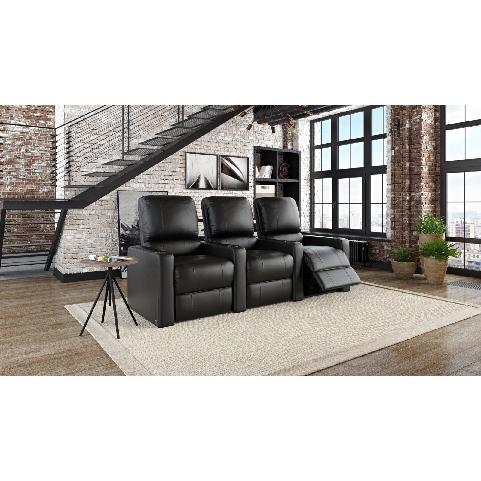 Octane Charger XS300 3 Seater Manual Recline Bonded Leather Home Theater Seating