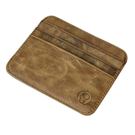 Mini Wallet Small Leather Open Card Bag Holder Retro Coin Purse Certificate (Leather Open Sided Mini Skinny Card Case)