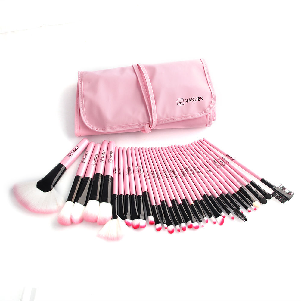 Vander 32 pcs Makeup Brushes Kit Set Powder Foundation Eyeshadow with Pink Cosmetic Pouch Bag