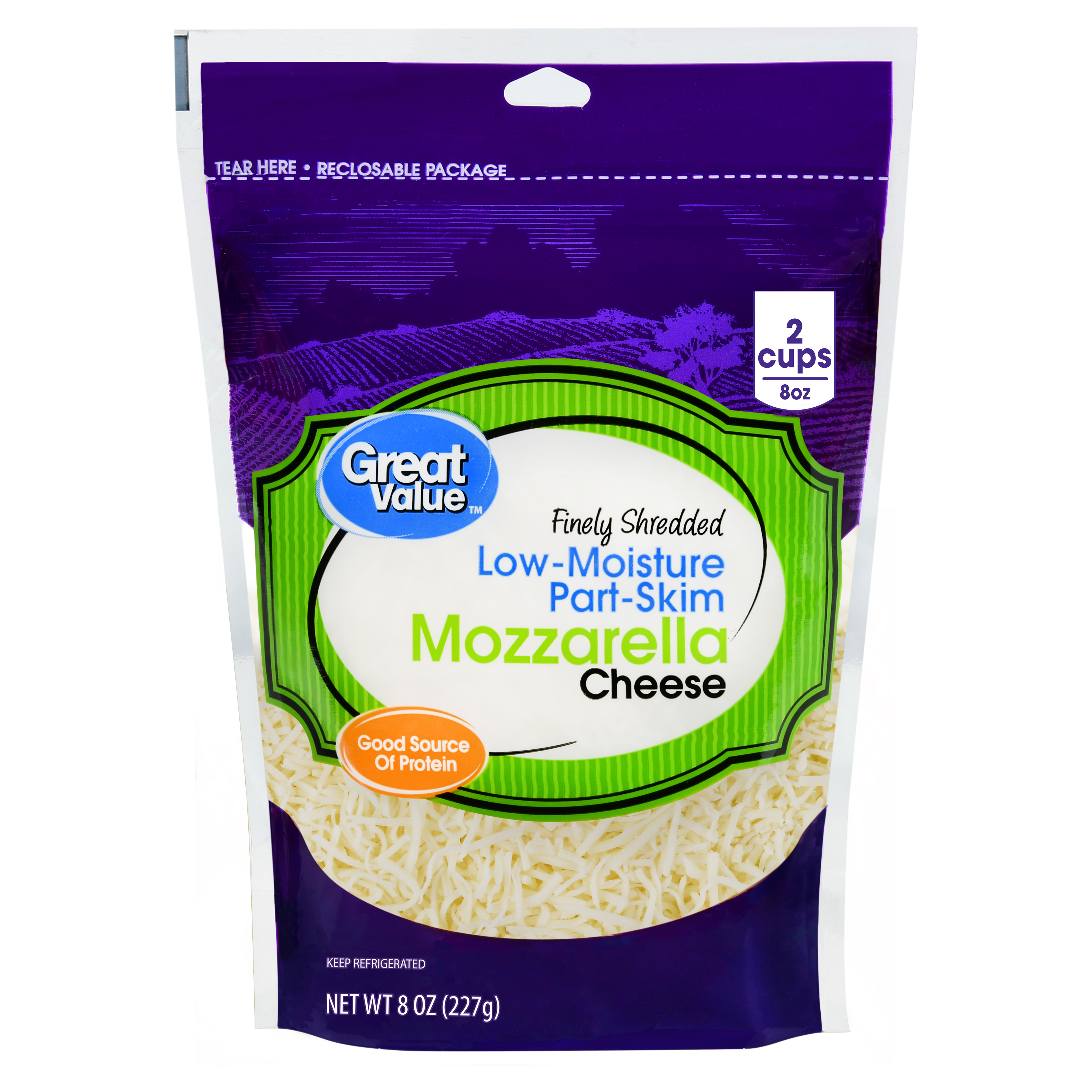 Great Value Finely Shredded Mozzarella Cheese, Low-Moisture Part-Skim, 8 oz