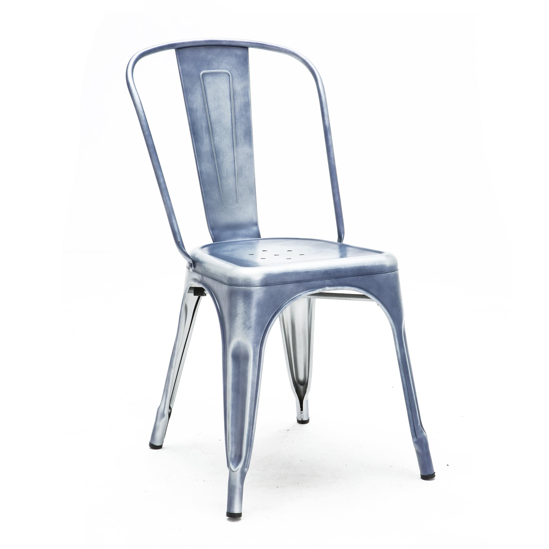 Dreux Dark Gunmetal Steel Stackable Side Chair (Set of 4)