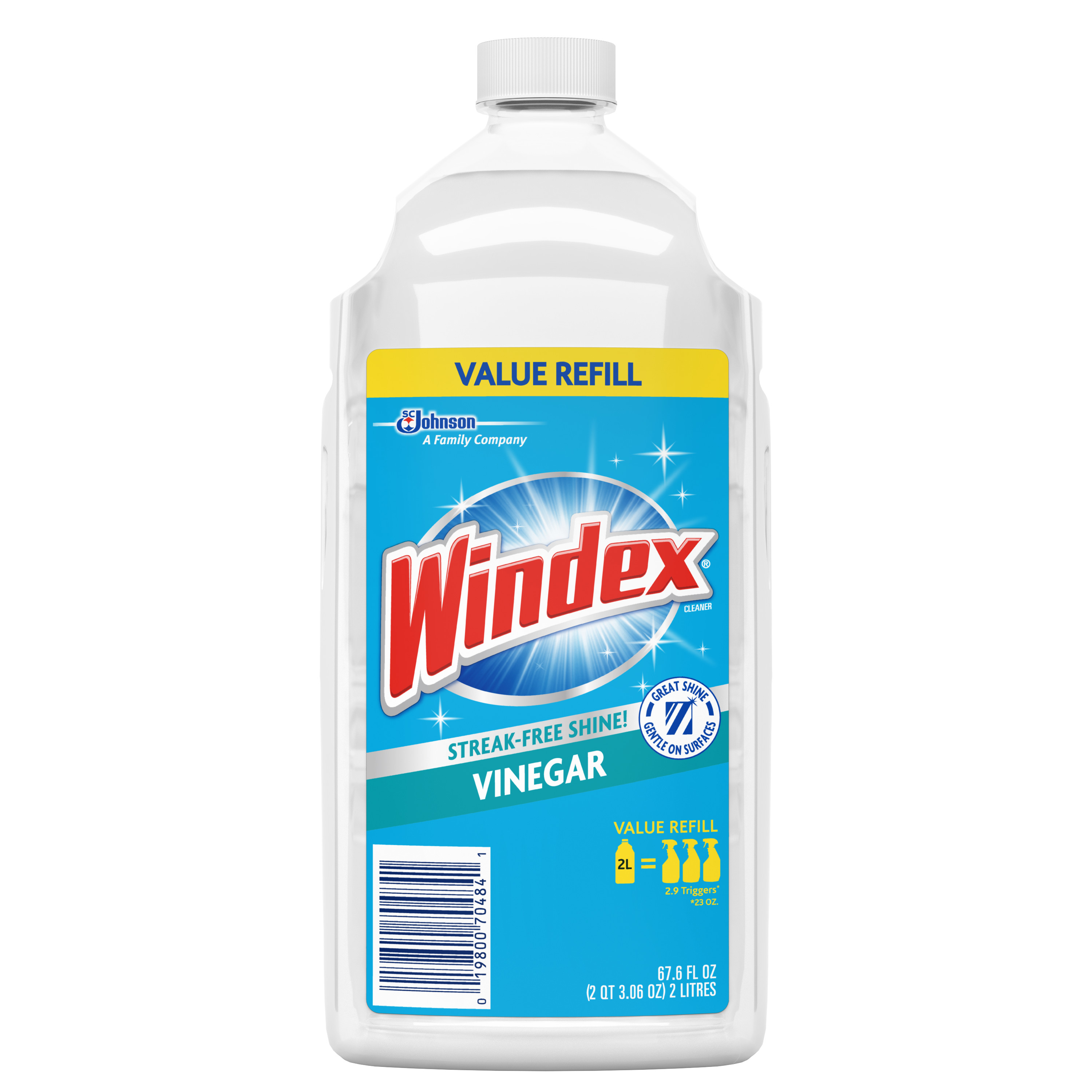 Windex Glass Cleaner Refill, Vinegar, 2 L