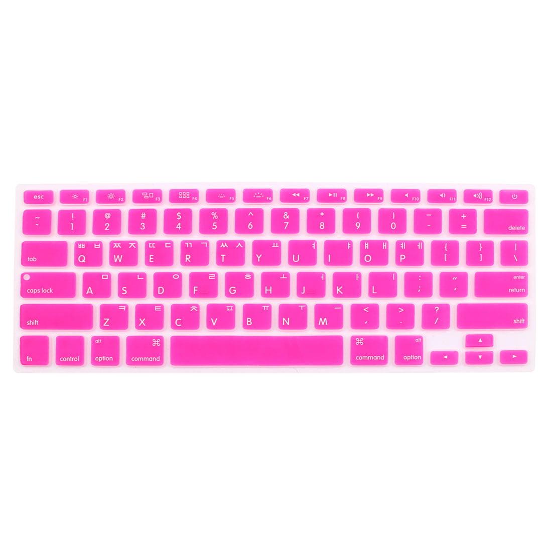 "Unique Bargains Korean Silicone Keyboard Skin Cover Fuchsia for Apple Macbook Air 13""15""17"""