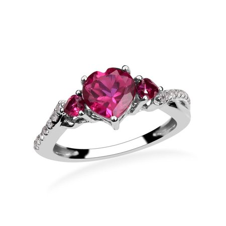 Sterling Silver Round Created White Sapphire Synthetic Ruby White Sapphire  Heart Ring Cttw 8