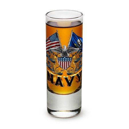 Shot Glasses – United States Navy Gifts for Men or Women – US Navy American Soldier Shot Glasses – Double Flag Eagle Navy Shield Glass Shot Glass - Set of 6 (2