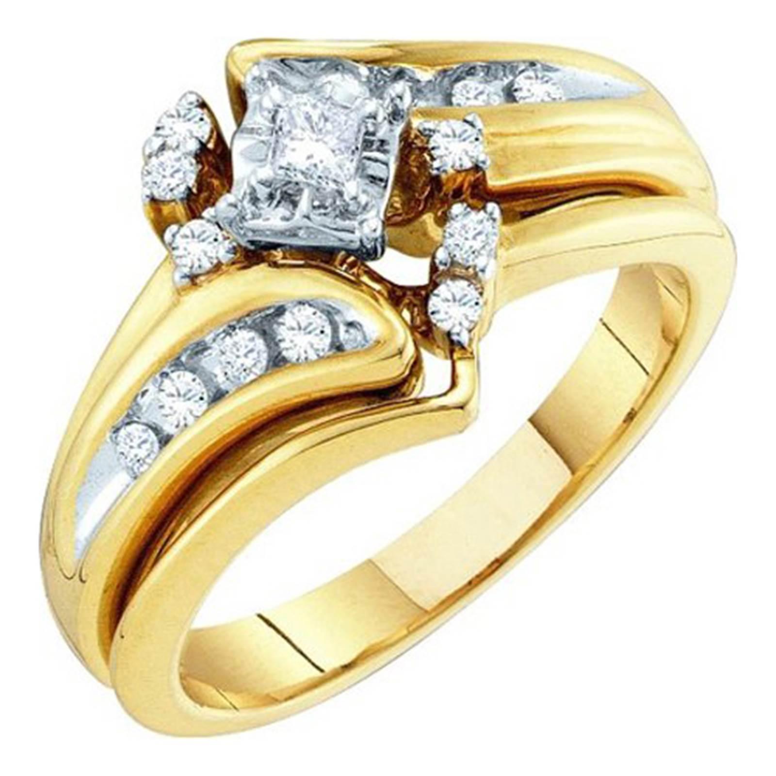 Ladies Yellow Gold 0.27CT Diamond Bridal Ring Set