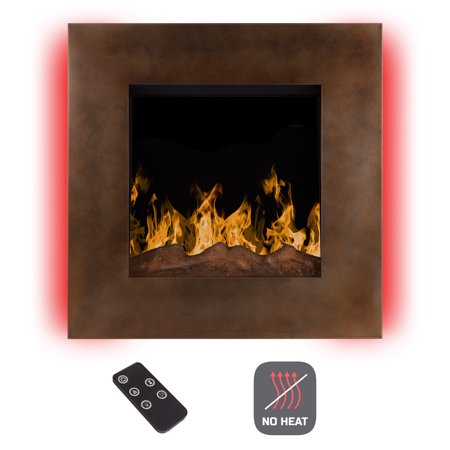 Electric Led Fireplace Wall Mounted With 13 Backlight Colors 10 Flame Timer And Remote Control No Heat 24 Inch By Northwest Dark Bronze