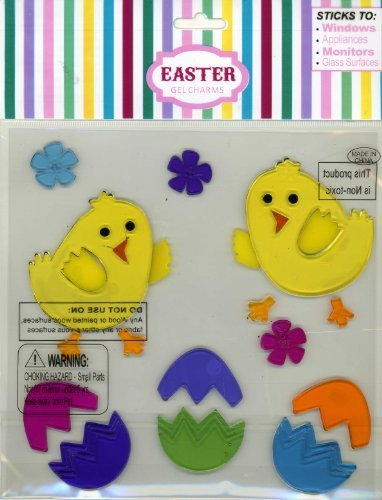 Spring Themed Easter Chicks Gel Window Clings 19 Piece