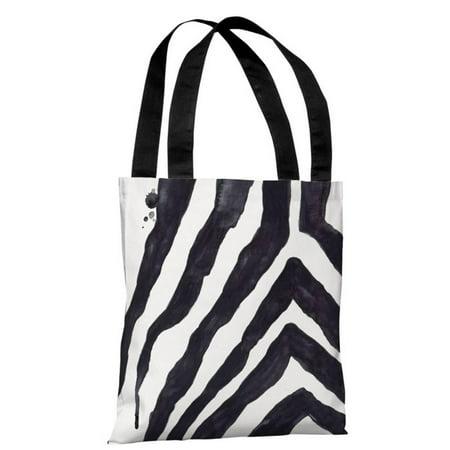 Zebra Animal Print Tote - Stripey Zebra - White Black - White Black Tote Bag by lezleelliott Tote Bag