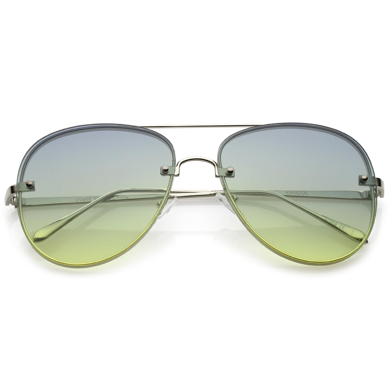 84987ea9f sunglass.la - Oversize Rimless Aviator Sunglasses Thick Frame Gradient Flat  Lens 60mm (Gold / Orange Yellow) - Walmart.com