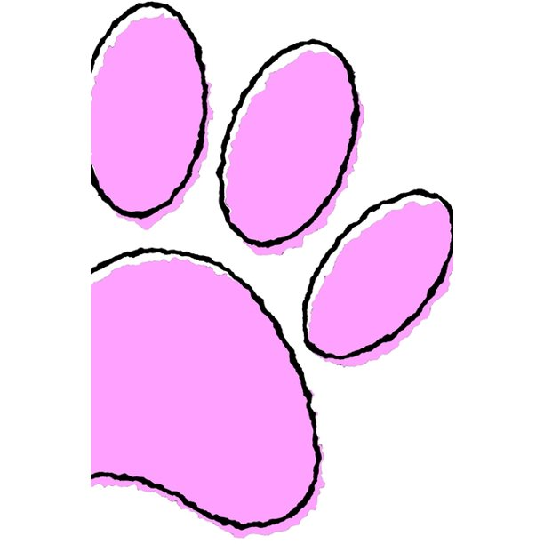 Huge Pink Dog Paw Print: 110 Page Blank Notebook