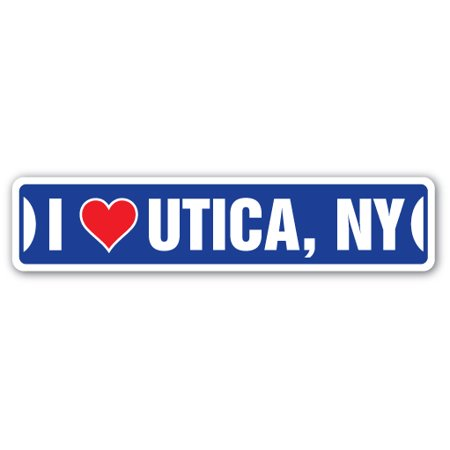 I LOVE UTICA, NEW YORK Street Sign ny city state us wall road décor gift (Party City Ny)