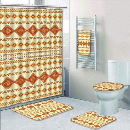 EREHome American Aztec with Vintage Colors Ethnic Mexican Indigenous Culture 5 Piece Bathroom Set Shower Curtain Bath Towel Bath Rug Contour Mat and Toilet Lid Cover - image 1 of 2