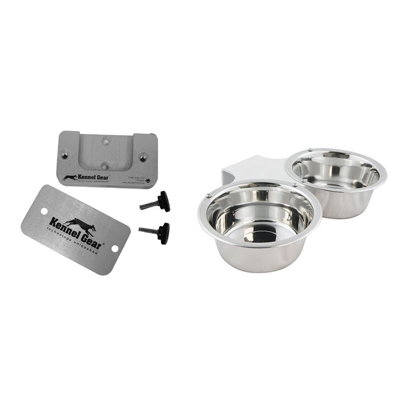 Kennel Gear Double Bowl System with Adhesive Mount