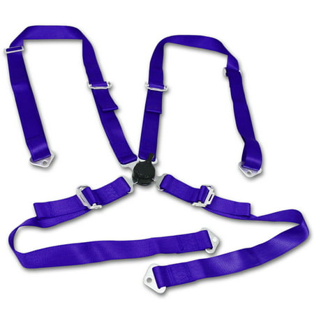- Universal Blue Nylon Racing Seat Belt Harness 4-Point Quick Release Camlock Set