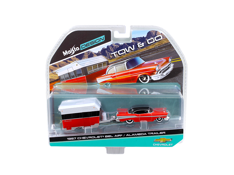 1957 Chevrolet Bel Air with Alameda Trailer Red Tow & Go 1 64 Diecast Model by Maisto by Diecast Dropshipper