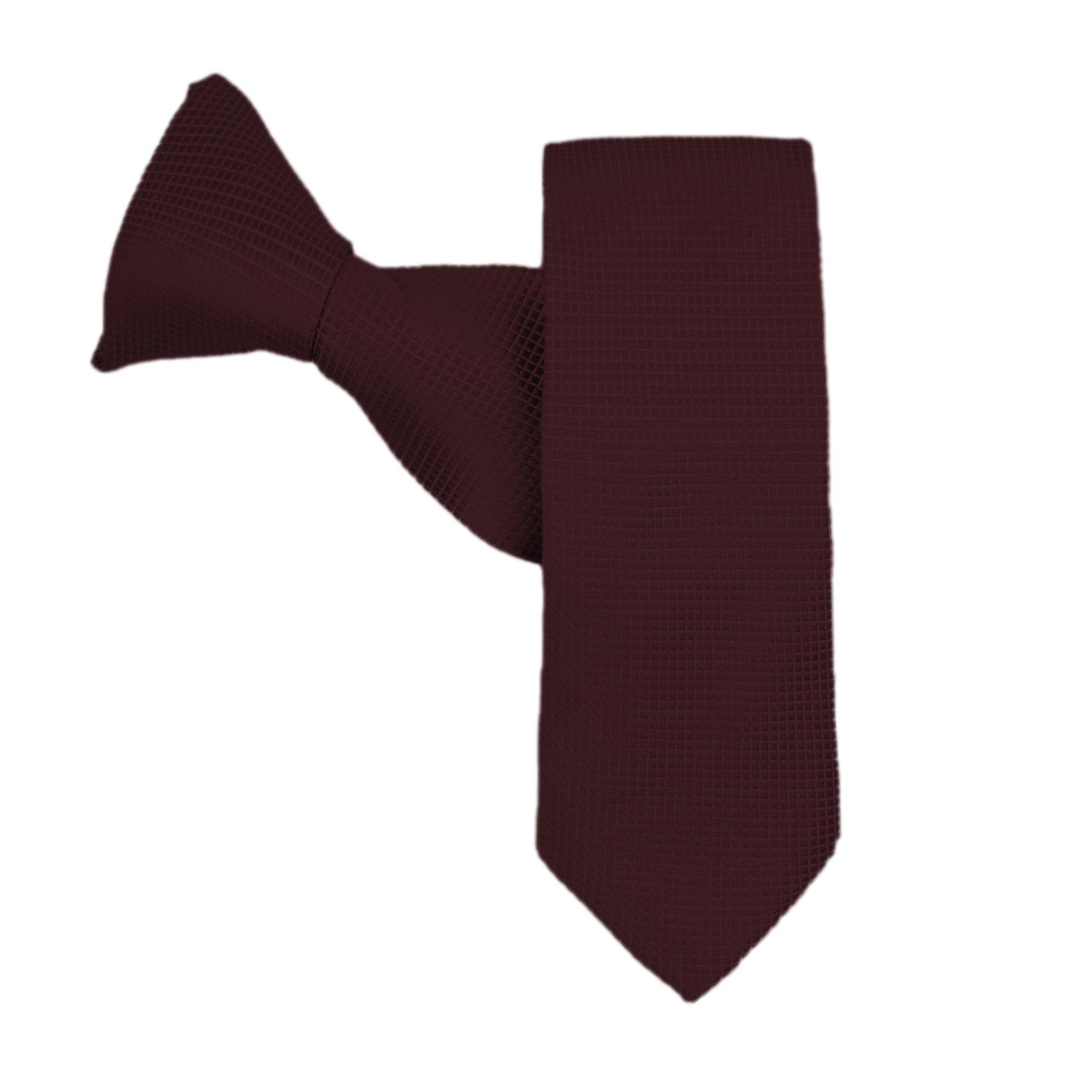 Jacob Alexander Mens Woven Subtle Mini Squares Zipper Neck Tie Brown