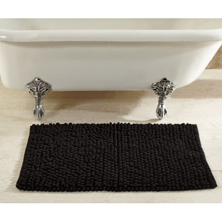 - Loopy Chenille Bath Rug in Black