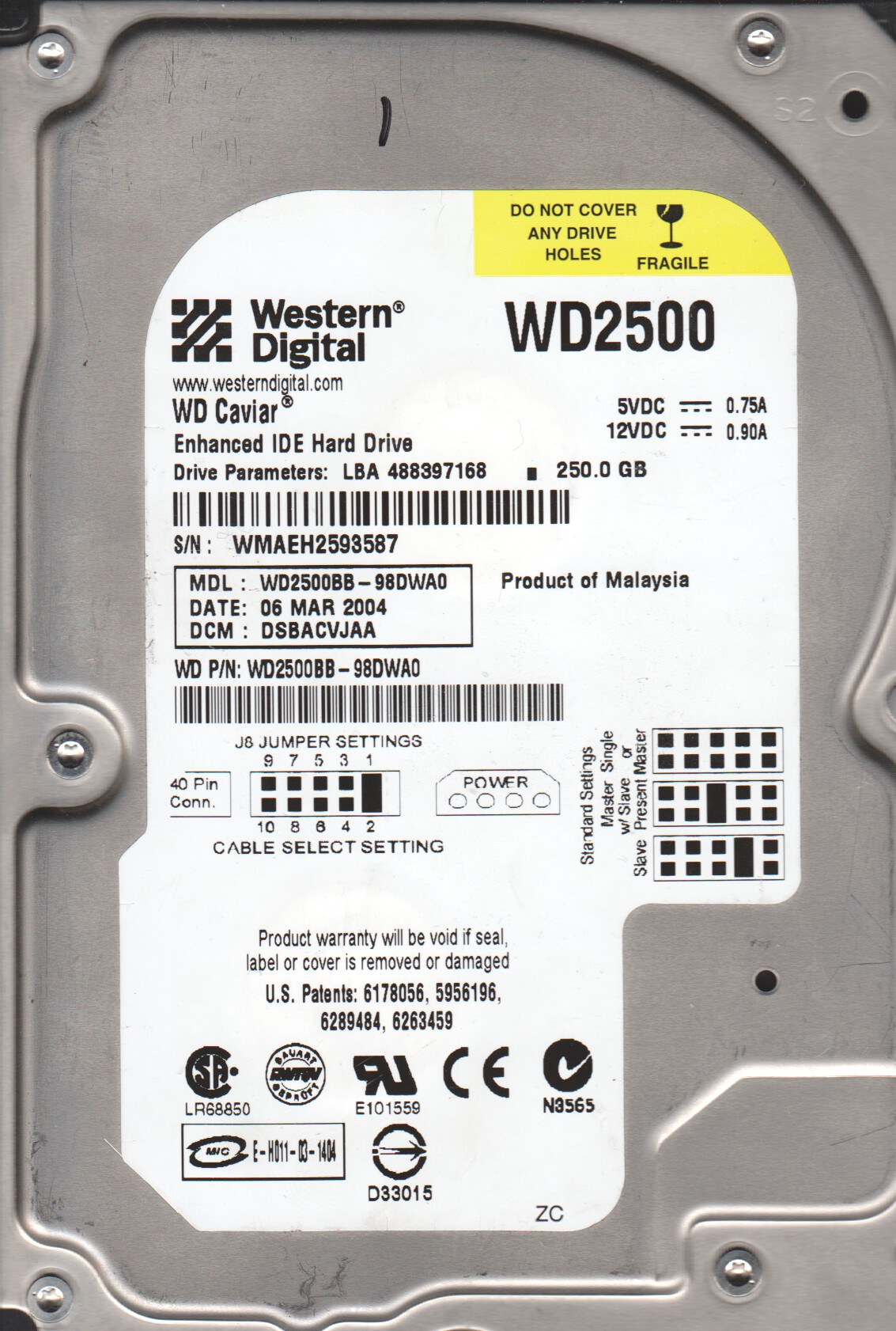 WD2500BB-98DWA0, DCM DSBACVJAA, Western Digital 250GB IDE 3.5 Hard Drive by WD