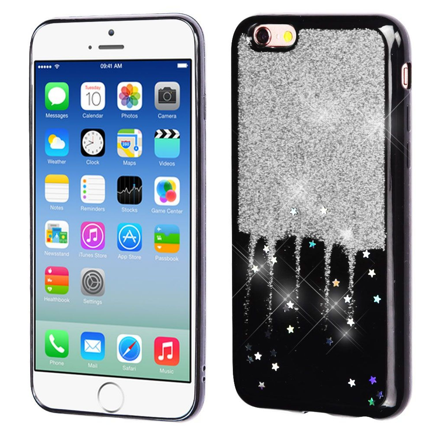 the latest 7b8eb 68a24 Insten Glitter Stars TPU Rubber Candy Skin Case Cover For Apple iPhone  6/6s, Silver/Black