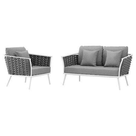 Modern Contemporary Urban Design Outdoor Patio Balcony Garden Furniture Lounge Chair and Sofa Set, Fabric Aluminium, White Grey Gray