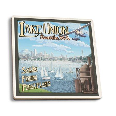 Union Lantern (Seattle, Washington - Lake Union - Lantern Press Artwork (Set of 4 Ceramic Coasters - Cork-backed, Absorbent) )