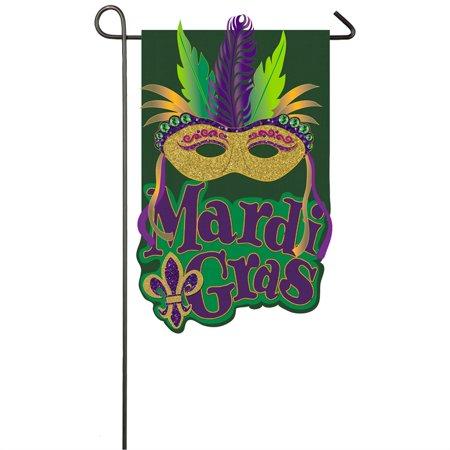 Mardi Gras Mask Garden Burlap Flag - Mardi Gras Flag