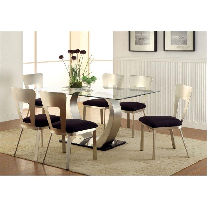Furniture of America Genaveve 7 Piece Dining Set in Satin