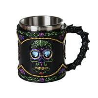 Day of the Dead Celebration Black Sugar Skull Floral Design Collectible Mug Tankard 11oz