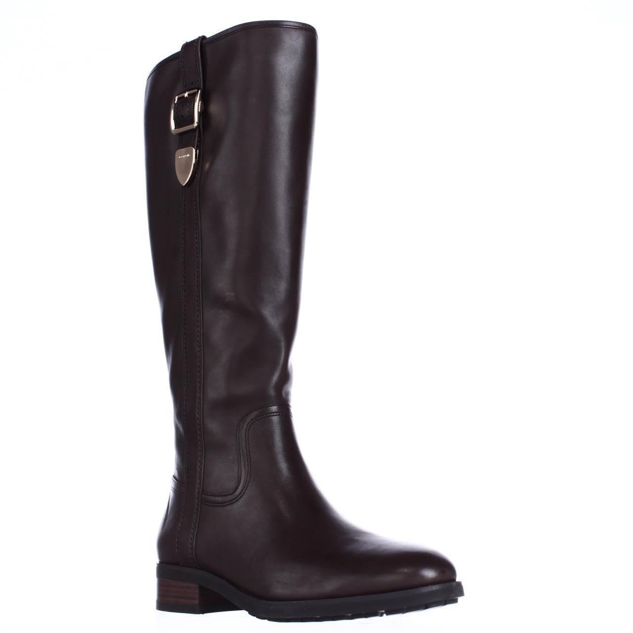 Womens Coach Easton Wide Calf Dress Riding Boots, Chestnut