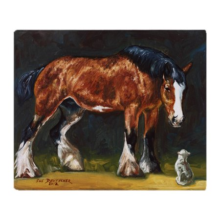 Horse Stadium - CafePress - Clydesdale Horse And Cat - Soft Fleece Throw Blanket, 50
